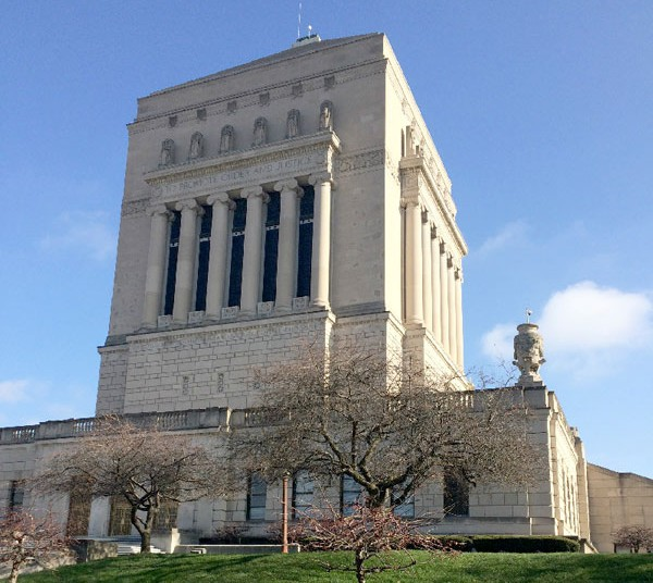 The Indiana War Memorial Plaza Historic District contains two museums, three parks, and 24 acres of monuments, statues, sculptures, and fountains in the heart of downtown Indianapolis.