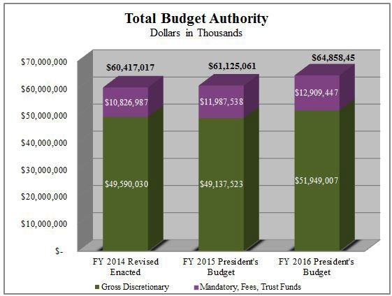The President's Fiscal Year (FY) 2016 Budget for DHS is $64.9 billion in total budget authority, $51.9 billion in gross discretionary funding, $41.2 billion in net discretionary funding, and $4.0 billion in discretionary fees.