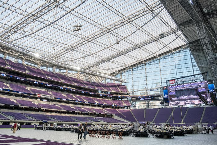 The development of the U.S. Bank Stadium had a direct economic impact on Minnesota businesses and workers, creating more than 8,000 construction jobs, where roughly $1 billion of construction costs stayed with Minnesota businesses. Photo Credit: Stephen Garrett