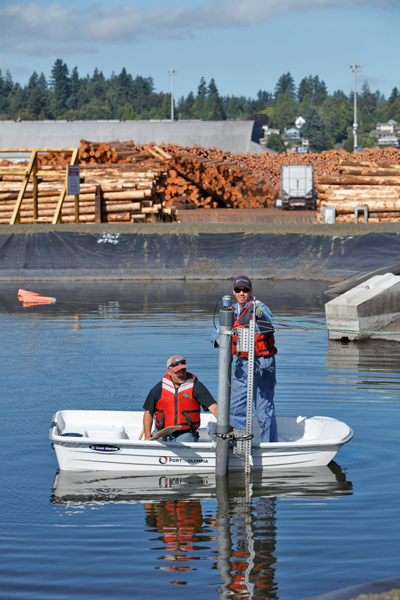 More than 130 million board feet of logs move through the Port of Olympia's terminal each year. Each log that passes leaves behind bark and other organic material detrimental to Puget Sound.