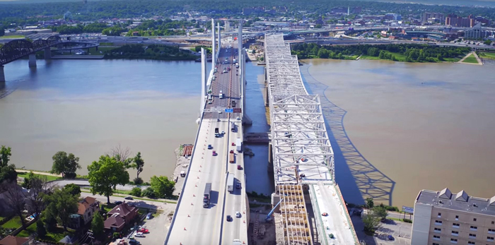 An aerial view of the updated Kennedy Bridge, on the right, next to the Abraham Lincoln Bridge.