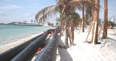 For a new water main in Miami, 1,600 feet of 30-inch diameter PE 4710 HDPE pipe was installed 100 feet deep using horizontal directional drilling (HDD). plastic pipe